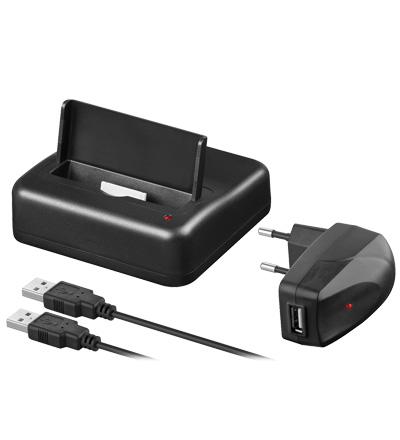 USB Dockingstation Set für Apple iPhone 4 / 4S mit AV-Ausgang, schwarz  Diverse